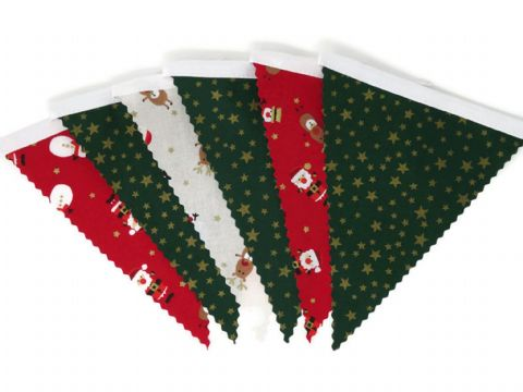 CHRISTMAS BUNTING   Stars Green - Santa Reindeer  - White Tape - 3m - 14 flags (single-sided)